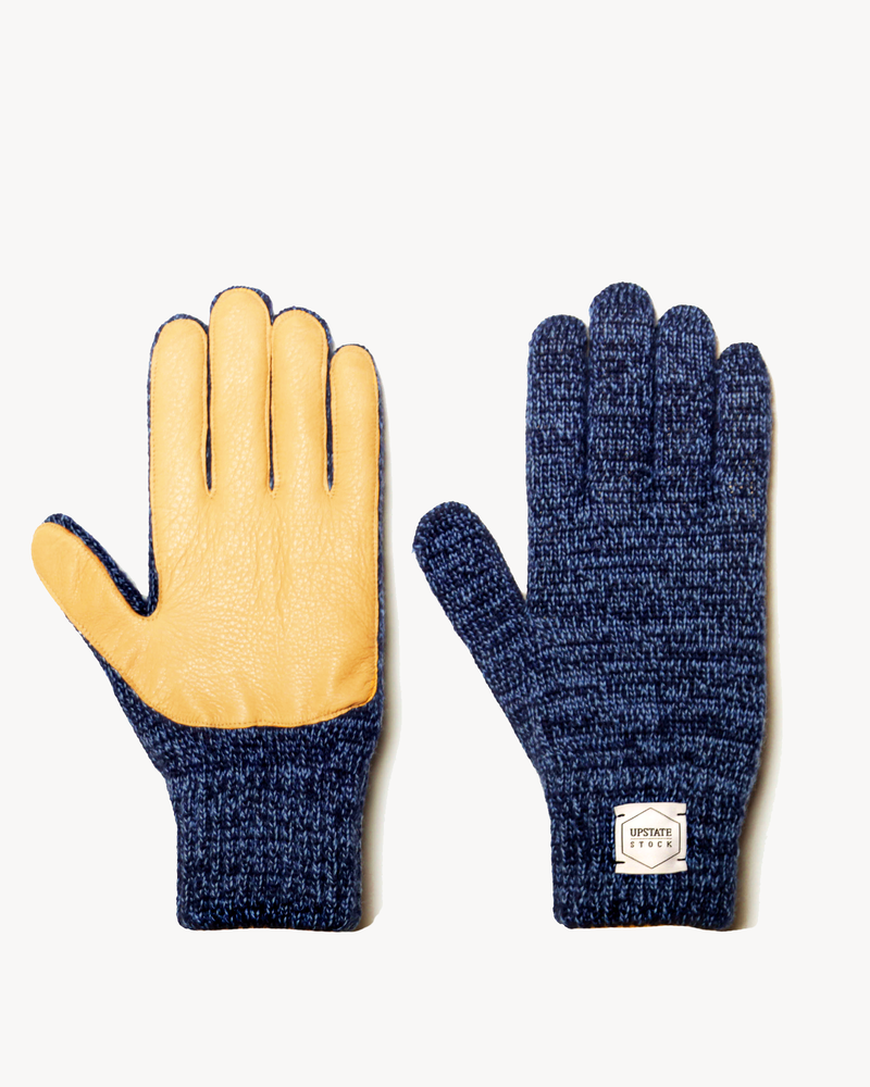 Denim Melange with Natural Deerskin Full Glove