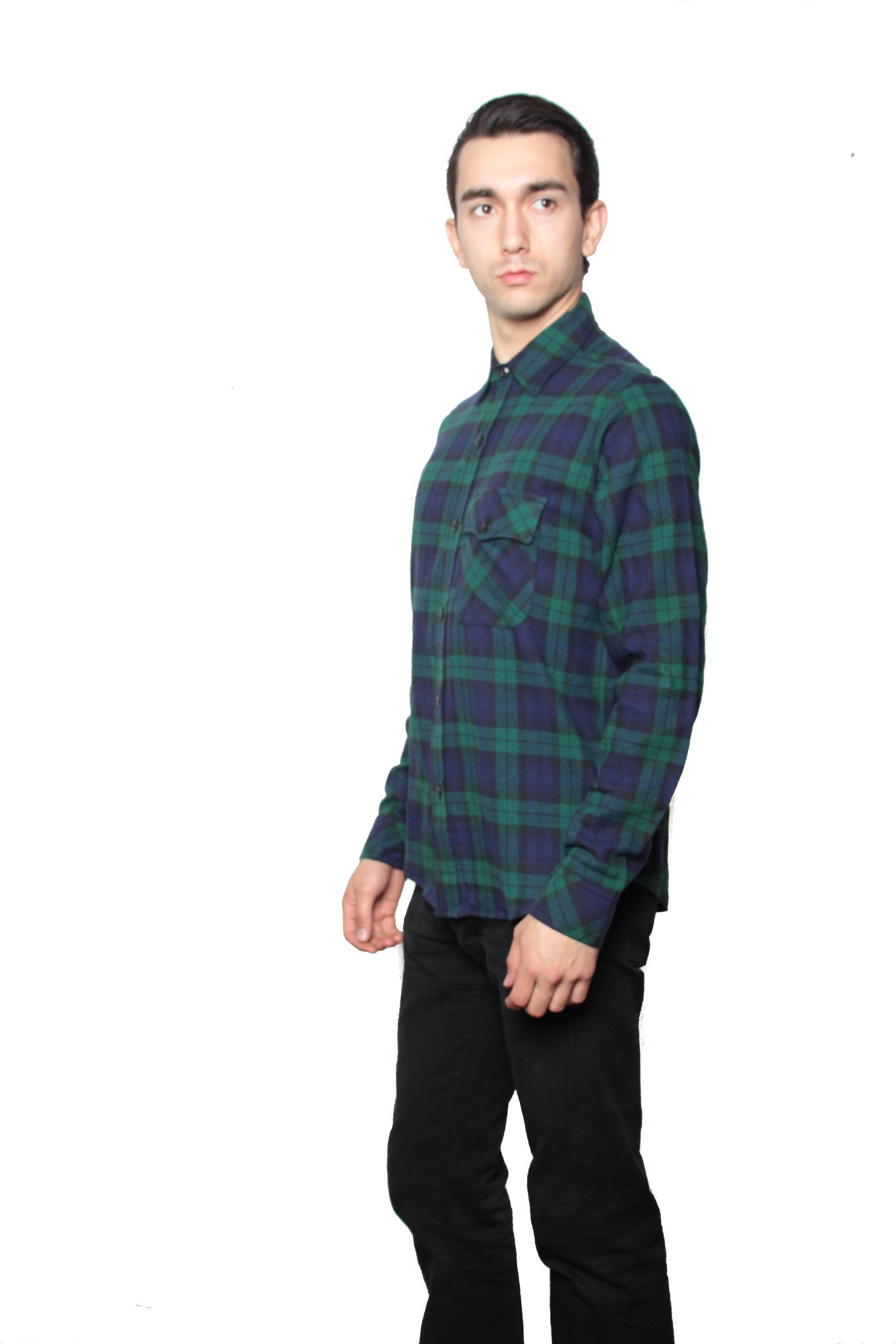 CANADIAN COTTON SHRINK TO FIT FLANNEL - BLACKWATCH PLAID