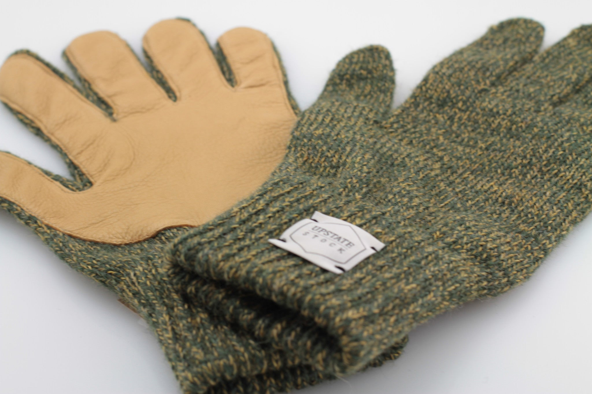 OLIVE MELANGE WITH NATURAL DEERSKIN FULL GLOVE