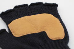 NAVY MELANGE FINGERLESS GLOVE WITH NATURAL DEERSKIN