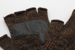 RUST MELANGE FINGERLESS GLOVE WITH BLACK DEERSKIN