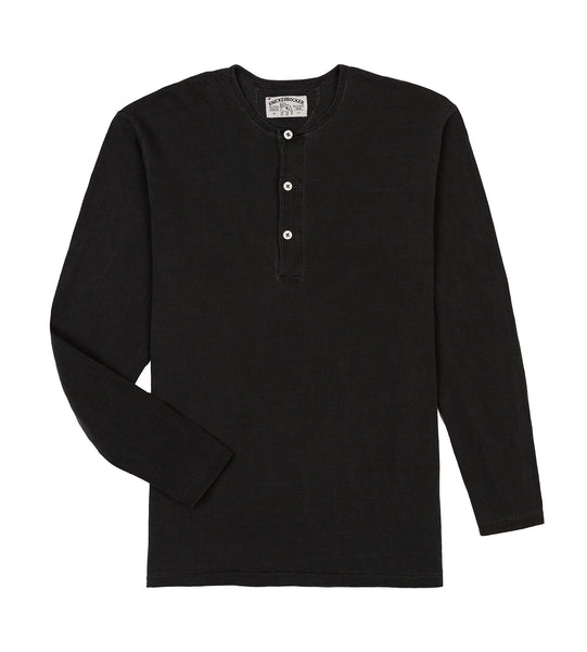 L/S HENLEY TUBE TEE - BLACK
