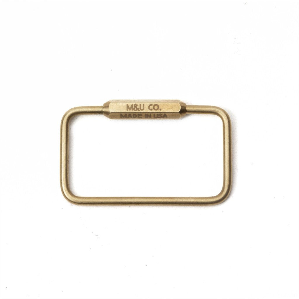 RECTANGLE KEY RING - BRASS
