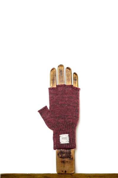 RED MELANGE FINGERLESS RAGG WOOL GLOVES