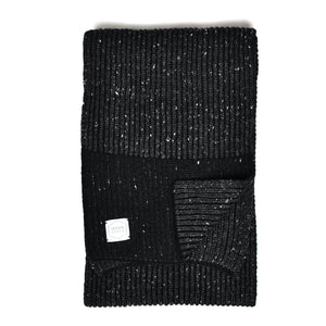 Black Tweed Ragg Wool Scarf