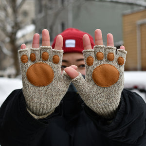 Special Edition Oatmeal Melange Fingerless Glove with Paw Palm