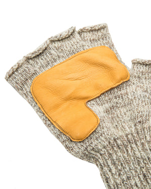Oatmeal Melange Fingerless Glove with Natural Deerskin