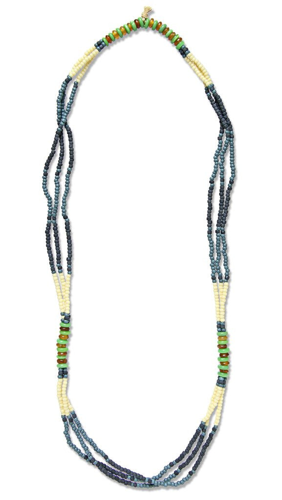 MONTAGNARD BEAD NECKLACE IN INDIGO / NAVY / JADE