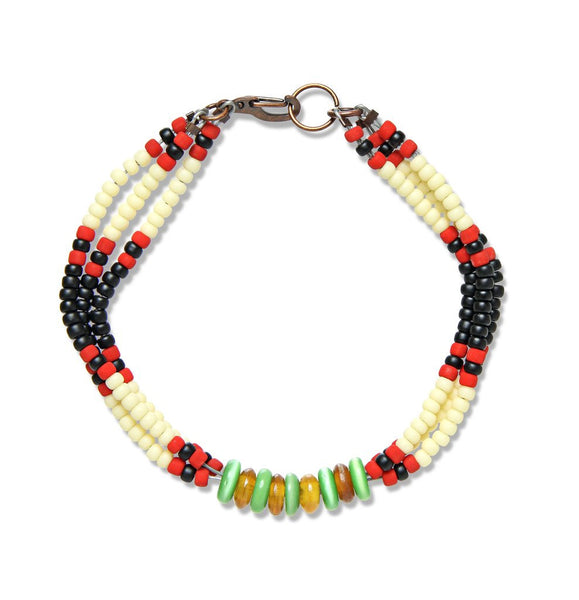 MONTAGNARD BEAD BRACELET IN BLACK / CREAM / JADE