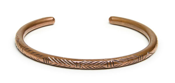 CARVED MONTAGNARD BRACELET IN COPPER (THICK)
