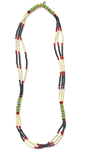 MONTAGNARD BEAD NECKLACE IN BLACK / CREAM / JADE