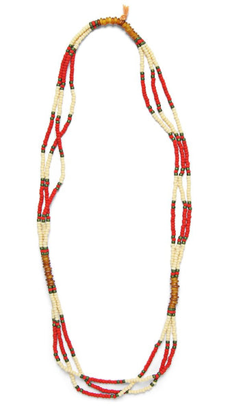 MONTAGNARD BEAD NECKLACE IN RED / CREAM / AMBER