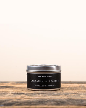 Labdanum + Leather Soy Travel Candle