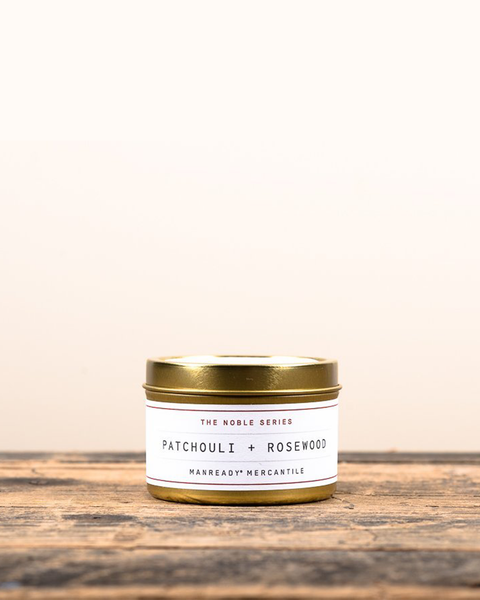 Patchouli + Rosewood Soy Travel Candle