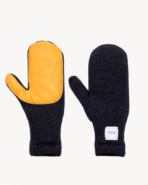 Navy Melange Ragg Wool Mitten with Natural Deerskin