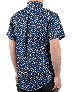 Short Sleeve Easy Shirt - Indigo Romantic Flowers