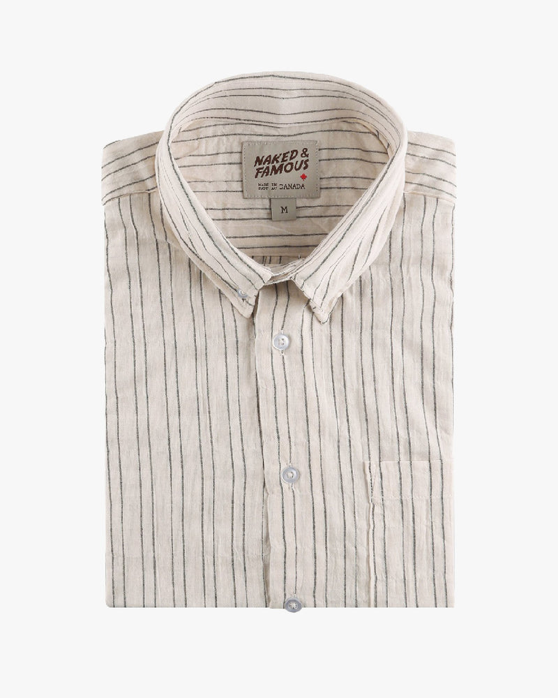 Short Sleeve Easy Shirt - Standard Stripe - Ecru