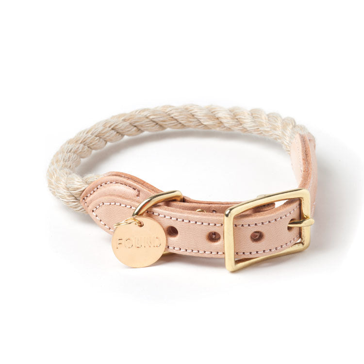 Natural Rope & Leather Collar