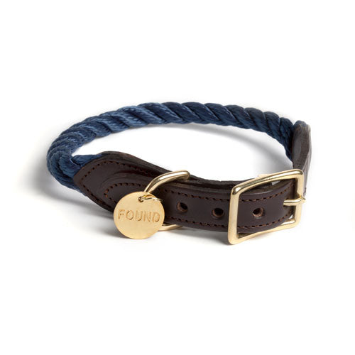 Navy Rope & Leather Collar