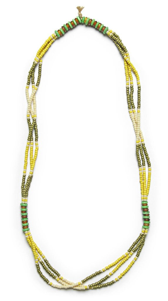 MONTAGNARD BEAD NECKLACE IN MAIZE / OLIVE / JADE