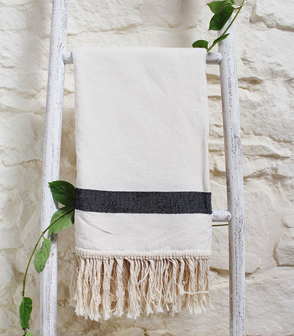 Meggie Throw - Charcoal Stripe