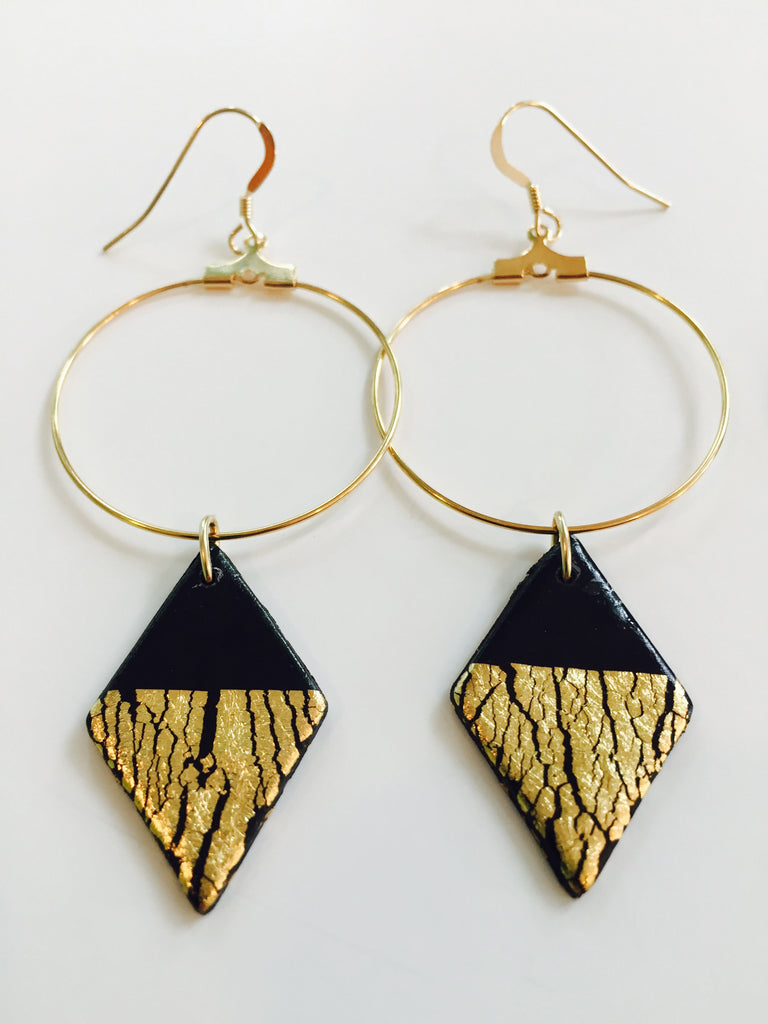 'Cleo' Black Diamond Dangle Earrings
