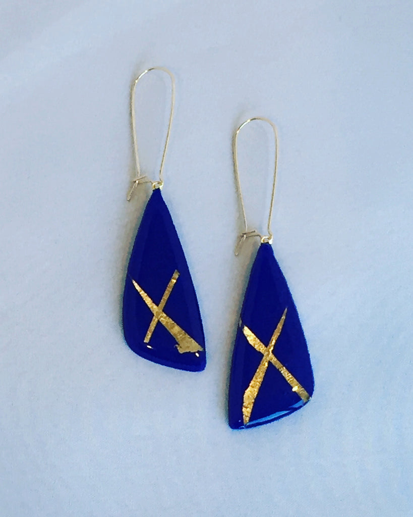 'Katy' Royal blue Scalene Dangle Earrings w/gold flecks