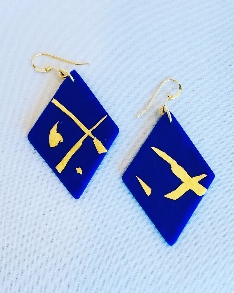 'Paz' Royal Blue/Gold Diamond Dangles