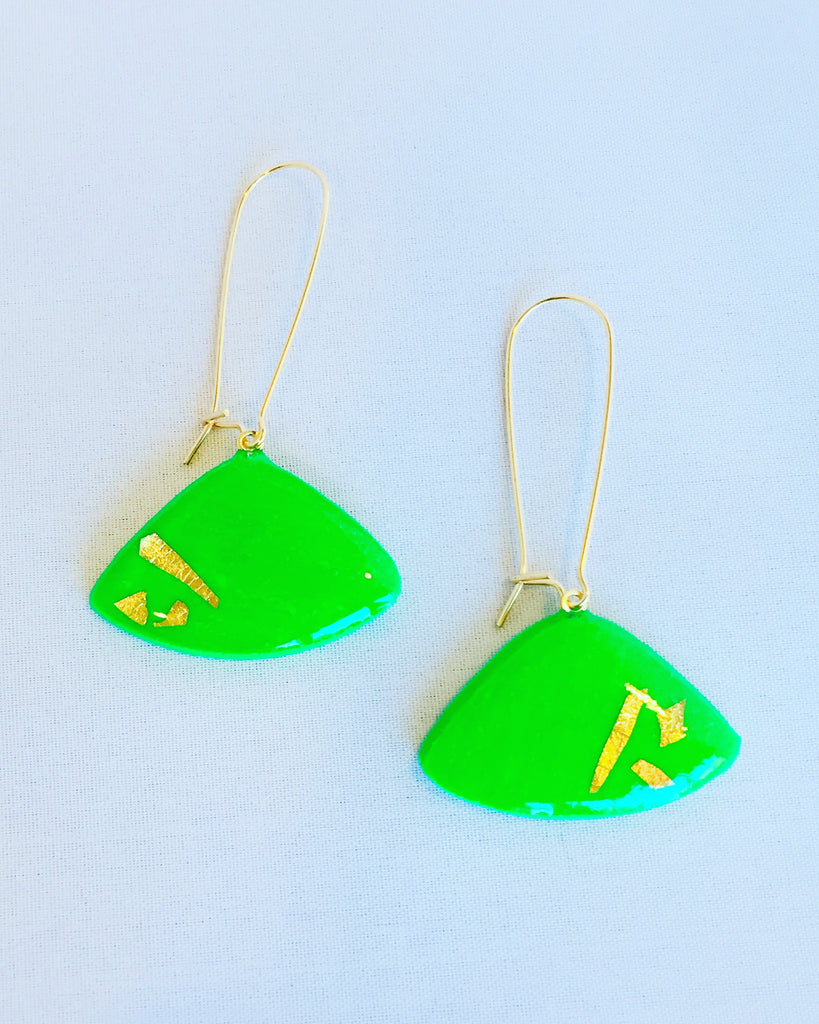 'Zella' Emerald green Triangle Dangle Earrings