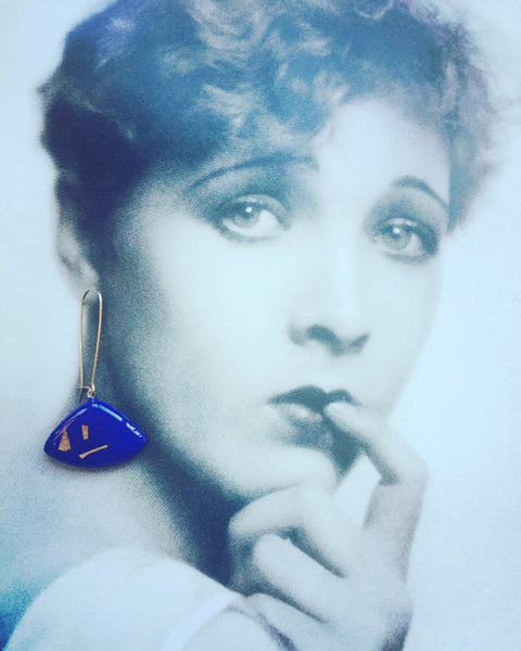 'Zella' Royal blue Triangle Dangle Earrings
