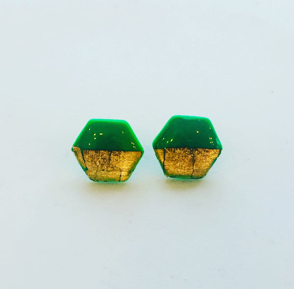 'Zoe' Emerald green Hexagon studs