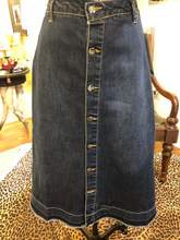 Load image into Gallery viewer, High Waisted A-Line Button Down Denim Skirt by Nanette Lepore