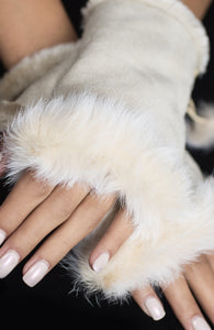 Fingerless Rabbit Gloves - White