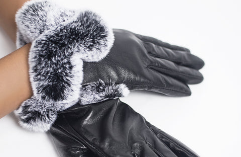 Leather and Rex Fur Gloves
