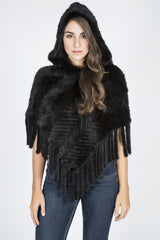 Knitted Denmark Mink Poncho with Hood and Fringe
