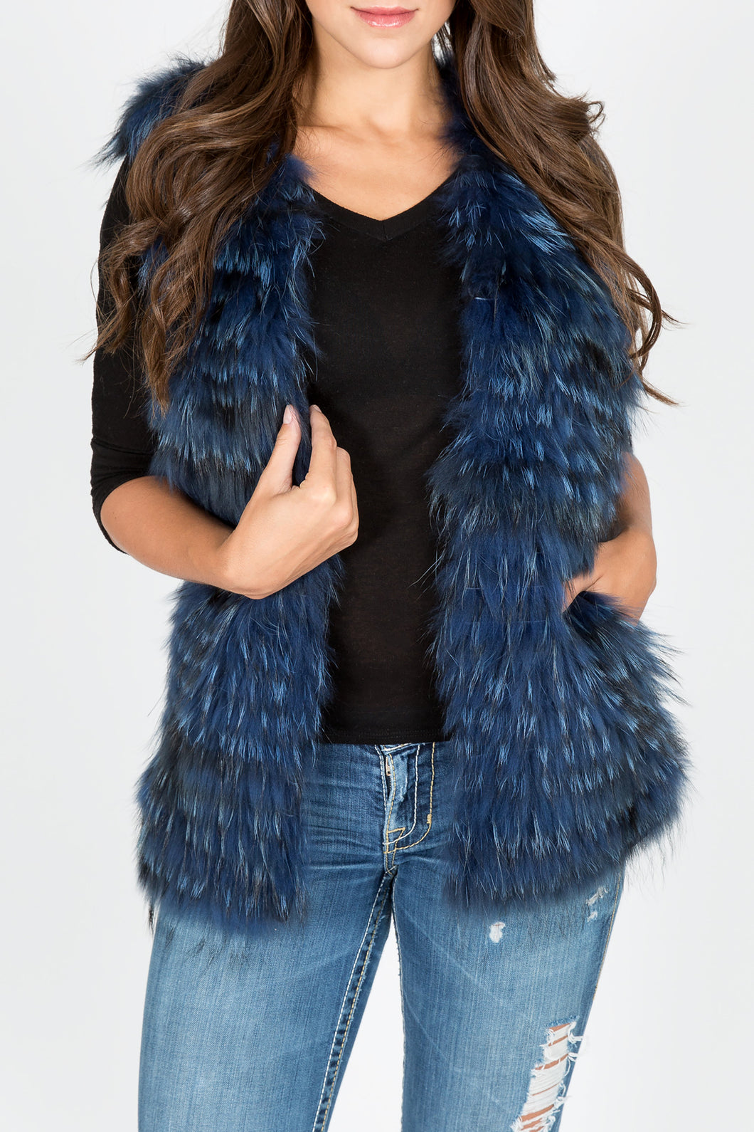 Fox Fur Vest/Gilet (Blue-Dyed)