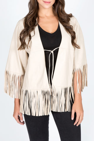 Lamb Leather Fringe Jacket/Cape