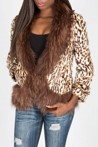 Leopard Dyed Toscano Lamb Fur and Raccoon Trim