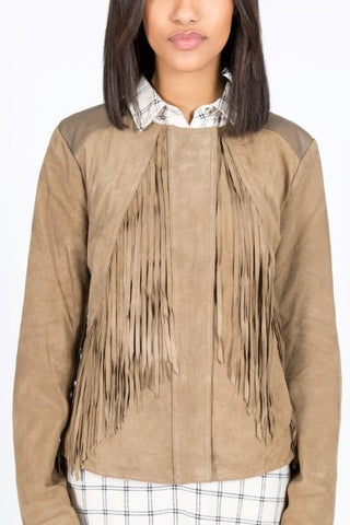 Soft Suede and Leather Fringe Jacket