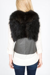 Raccoon Fur & Leather Vest (Black-Dyed)