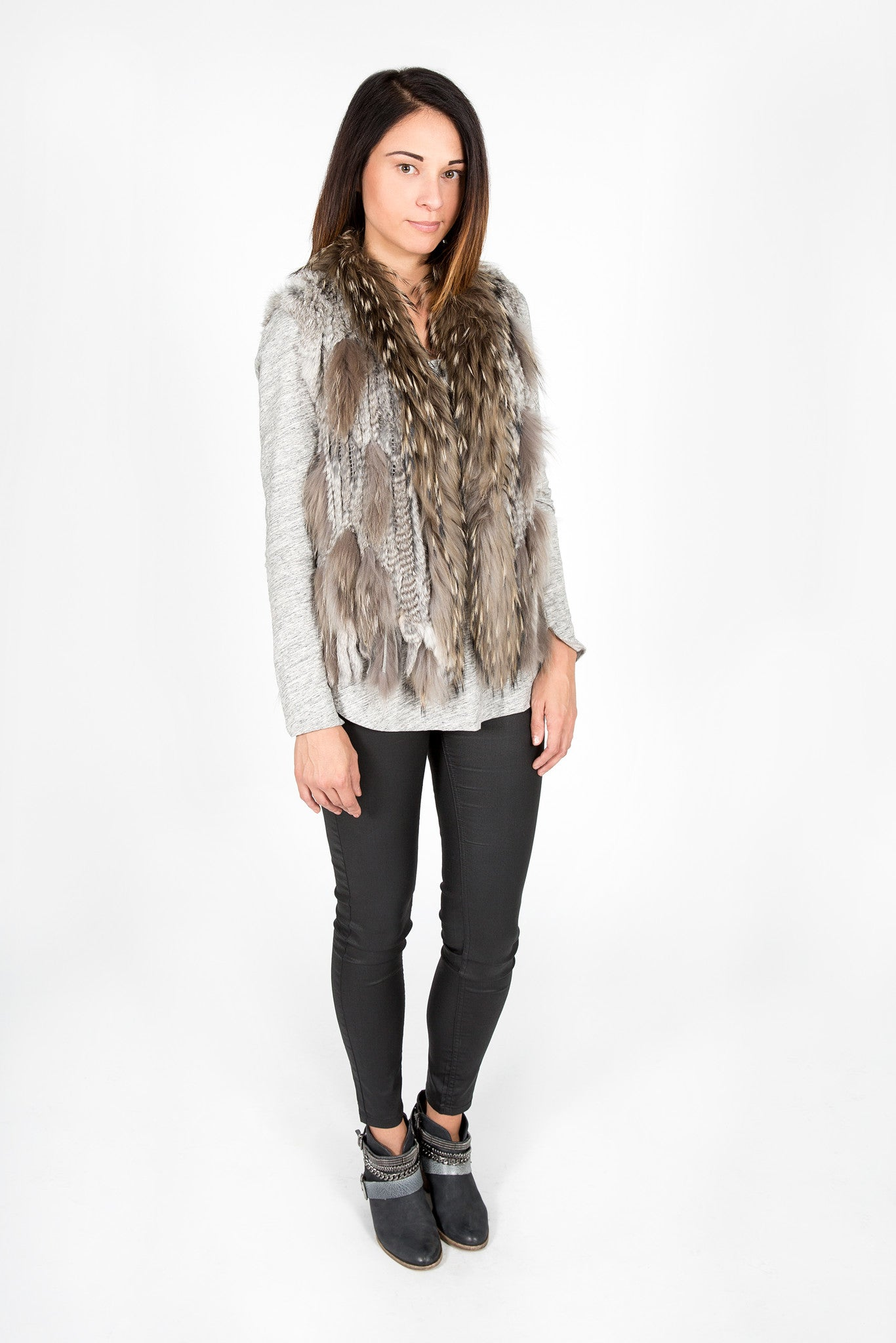 Rabbit & Raccoon Fur Knitted Vest with Fringe