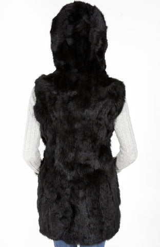 Rabbit fur Vest with Hood