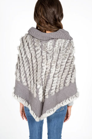 Knitted Rabbit Fur Poncho with Cow Neck