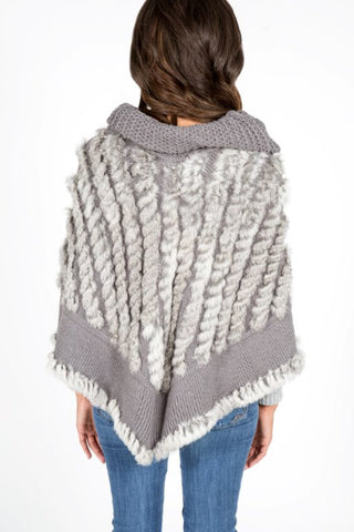 Cowl Neck Rabbit Poncho