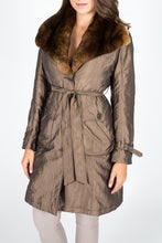 Load image into Gallery viewer, Chinchilla Rex Fur & Taffeta Trench Coat (with removable sheared rabbit lining)