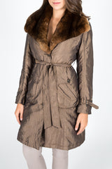 Bronze Dyed Chinchilla Rex Rabbit Fur and Taffeta Coat (removable sheared rabbit lining)