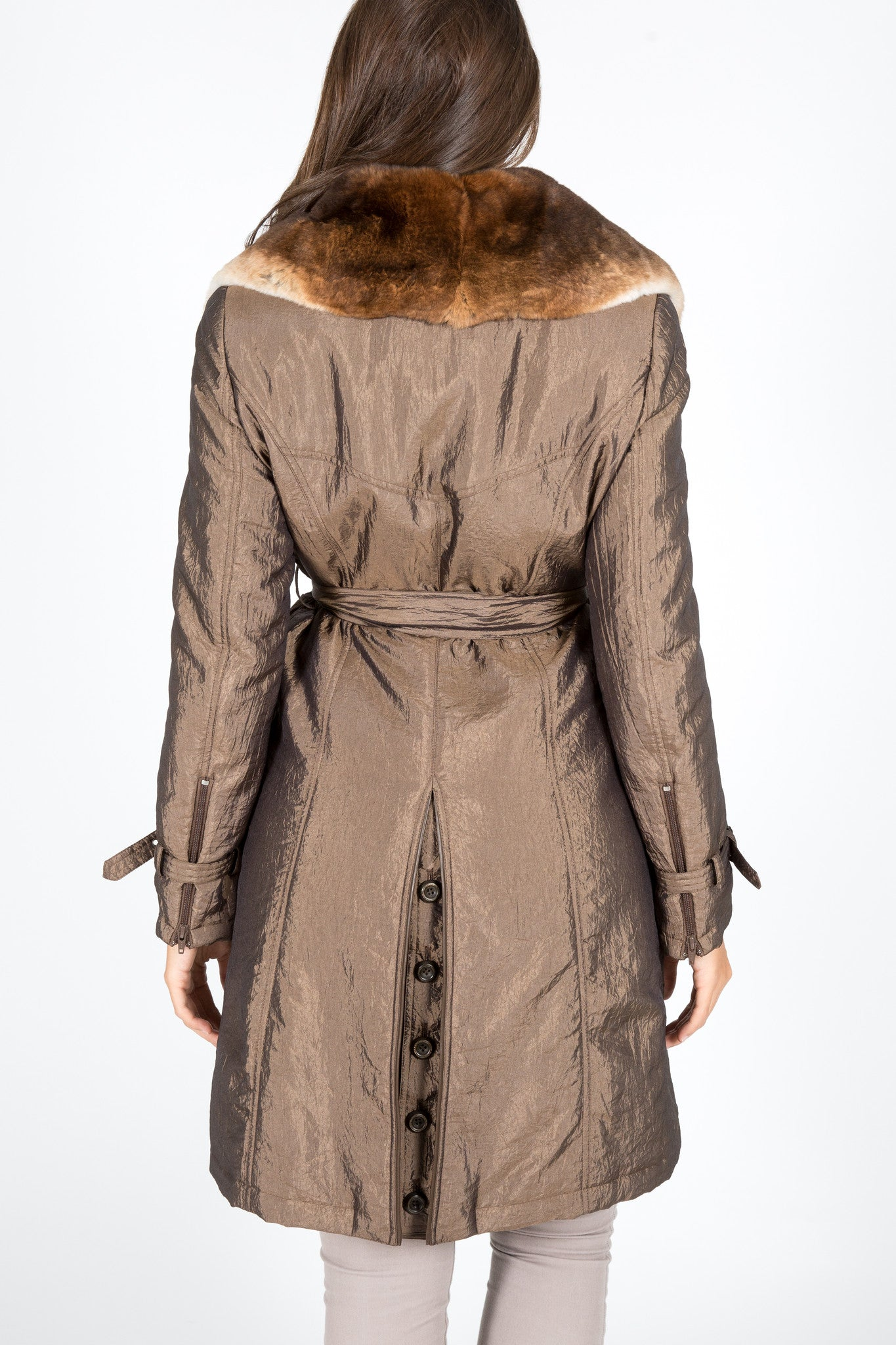 Chinchilla Rex Fur & Taffeta Trench Coat (with removable sheared rabbit lining)