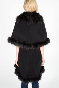 Cashmere & Wool Blend Cape with Finnish Fox Fur