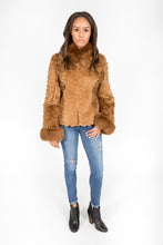 Load image into Gallery viewer, Golden Dyed Persian Lamb, Fox and Lasered Rabbit Fur Jacket
