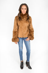 Golden Dyed Persian Lamb, Fox and Lasered Rabbit Fur Jacket